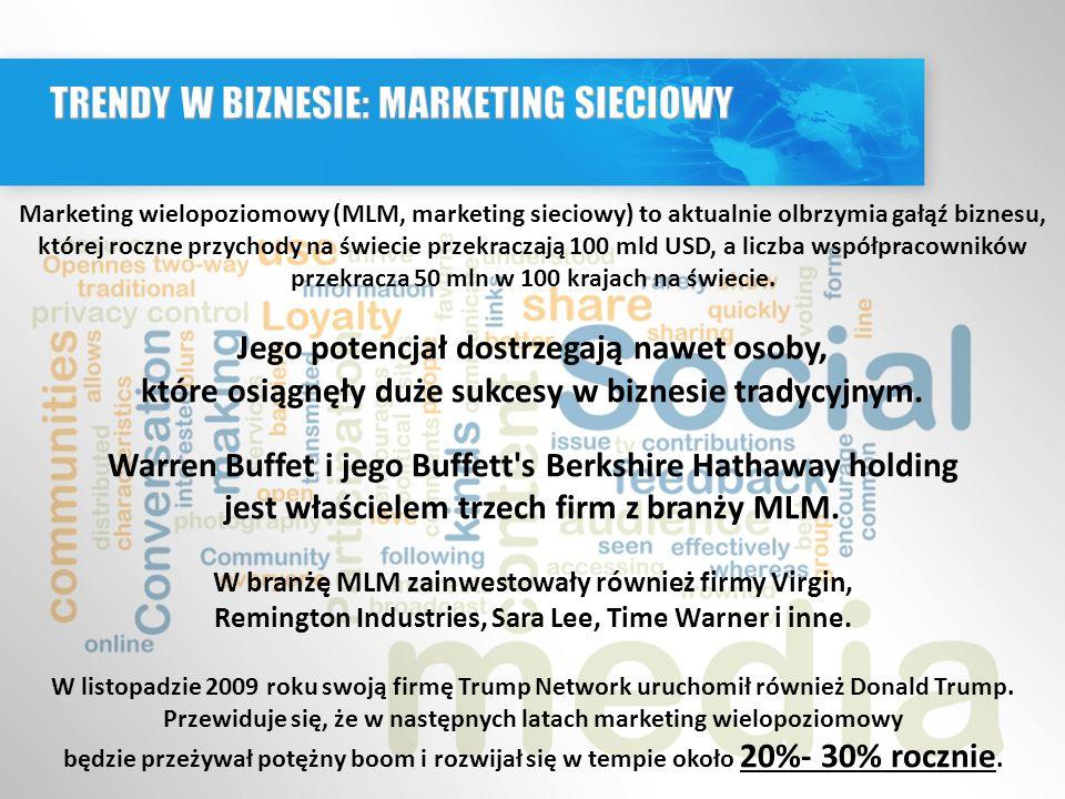 Marketing wielopoziomowy (MLM, marketing sieciowy) to aktualnie olbrzymia gałąź biznesu, której roczne przychody na świecie przekraczają 100 mld USD, a liczba współpracowników przekracza 50 mln w 100 krajach na świecie.