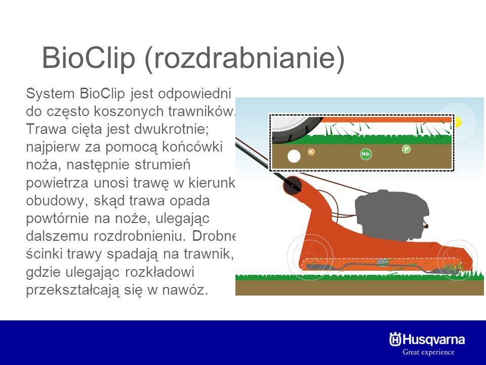 BioClip (rozdrabnianie) Zalety systemu BioClip: + Składniki odżywcze i woda powracają do trawnika + Ilość potrzebnego nawozu zmniejsza się o co najmniej 50% + Skoszonej trawy nie trzeba zbierać i kompostować + Efekt końcowy jest bardziej schludny, niż w przypadku wyrzutu + Zwiększa się warstwa próchnicy + Trawa nie jest rozrzucana Wady systemu BioClip: - Nie zapobiega rozsiewaniu się chwastów - Przy koszeniu wysokiej trawy ścinki mogą się zlepiać i tworzyć grudki - Możliwość przenawożenie trawnika - Wymaga częstszego koszenia, ponieważ jednorazowo można kosić tylko 1/3 długości źdźbła - Efekt końcowy nie jest tak schludny, jak przy zbieraniu.