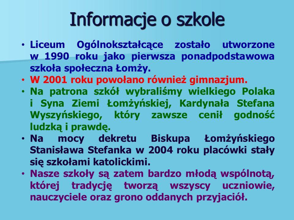 Nasz Patron Kardynał Stefan Wyszyński pełni pieczę nad nami.