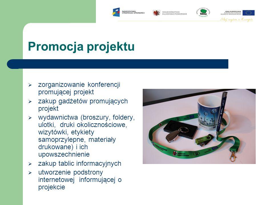 Promocja projektu  zorganizowanie konferencji promującej projekt  zakup gadżetów promujących projekt  wydawnictwa (broszury, foldery, ulotki, druki