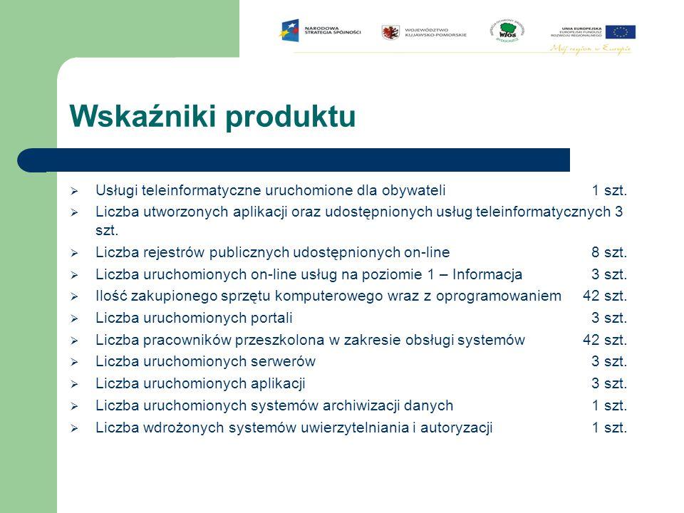Wskaźniki produktu  Usługi teleinformatyczne uruchomione dla obywateli 1 szt.  Liczba utworzonych aplikacji oraz udostępnionych usług teleinformatyc