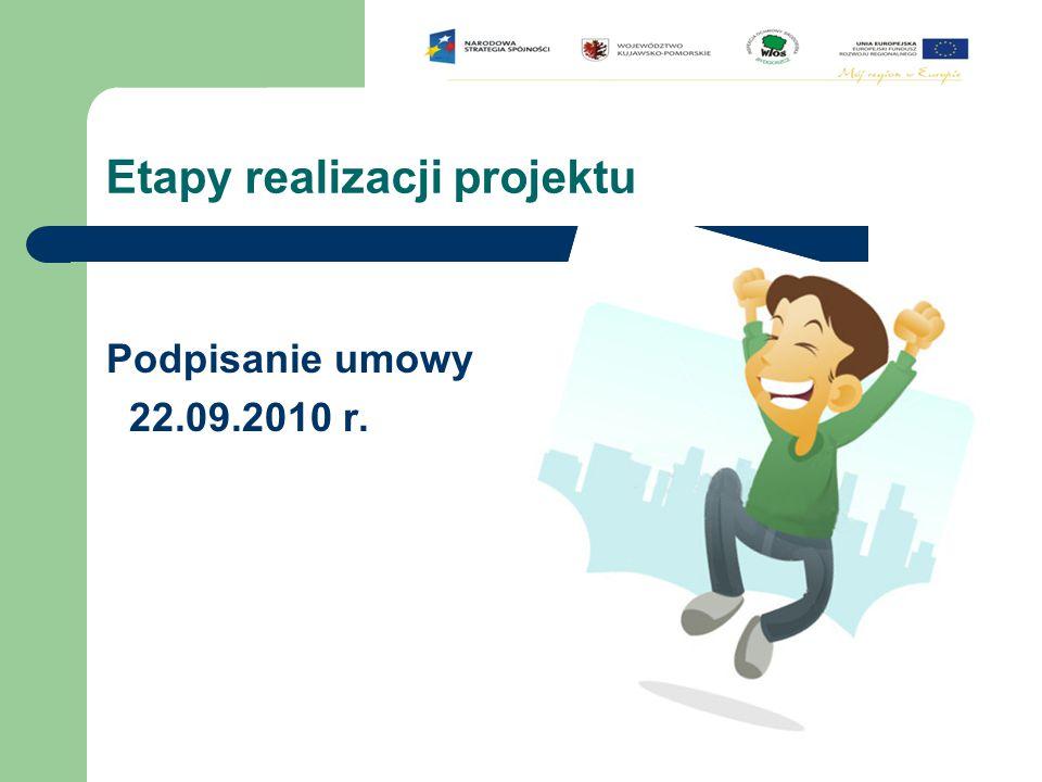 Etapy realizacji projektu Podpisanie umowy 22.09.2010 r.