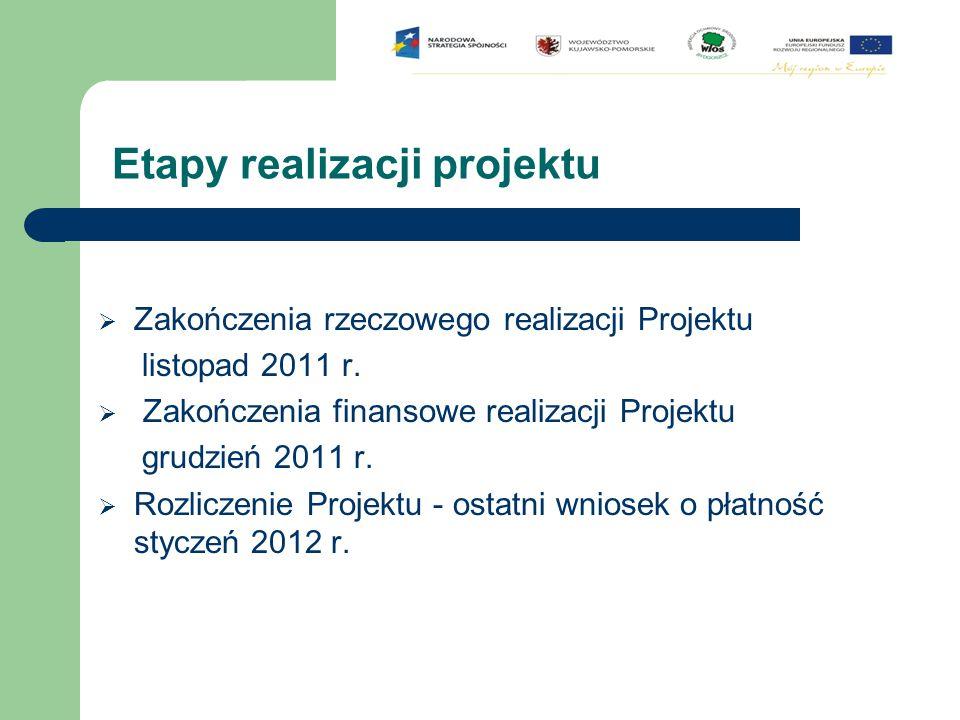 Etapy realizacji projektu  Zakończenia rzeczowego realizacji Projektu listopad 2011 r.  Zakończenia finansowe realizacji Projektu grudzień 2011 r. 