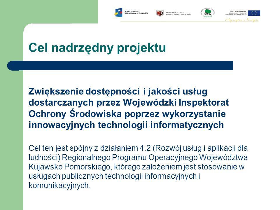 Cel nadrzędny projektu Zwiększenie dostępności i jakości usług dostarczanych przez Wojewódzki Inspektorat Ochrony Środowiska poprzez wykorzystanie inn