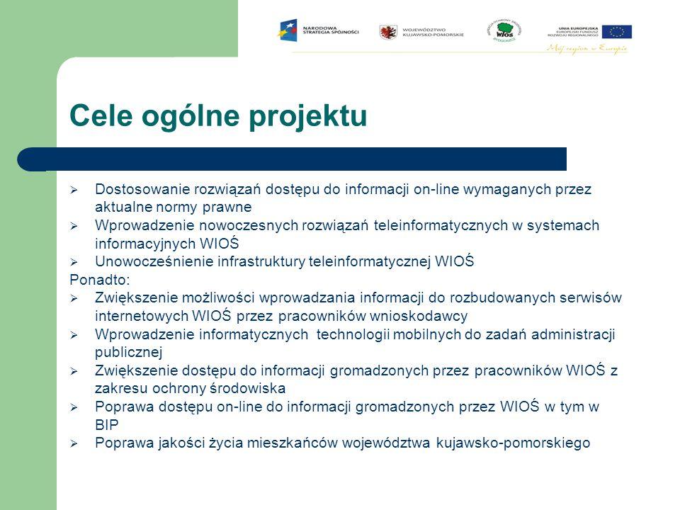 Cele ogólne projektu  Dostosowanie rozwiązań dostępu do informacji on-line wymaganych przez aktualne normy prawne  Wprowadzenie nowoczesnych rozwiąz