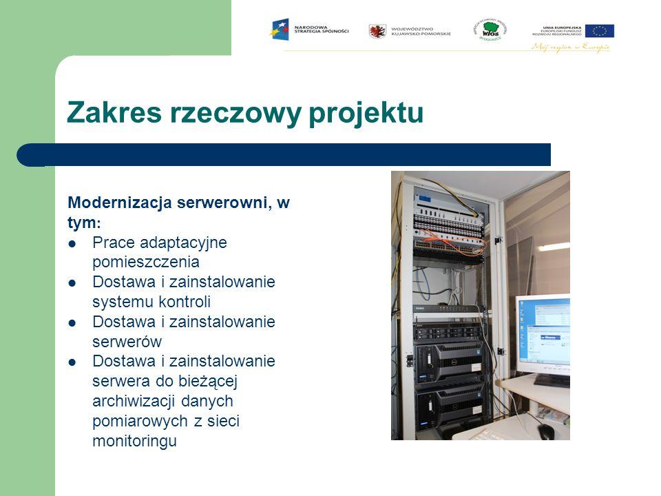 Zakres rzeczowy projektu Modernizacja serwerowni, w tym : Prace adaptacyjne pomieszczenia Dostawa i zainstalowanie systemu kontroli Dostawa i zainstal