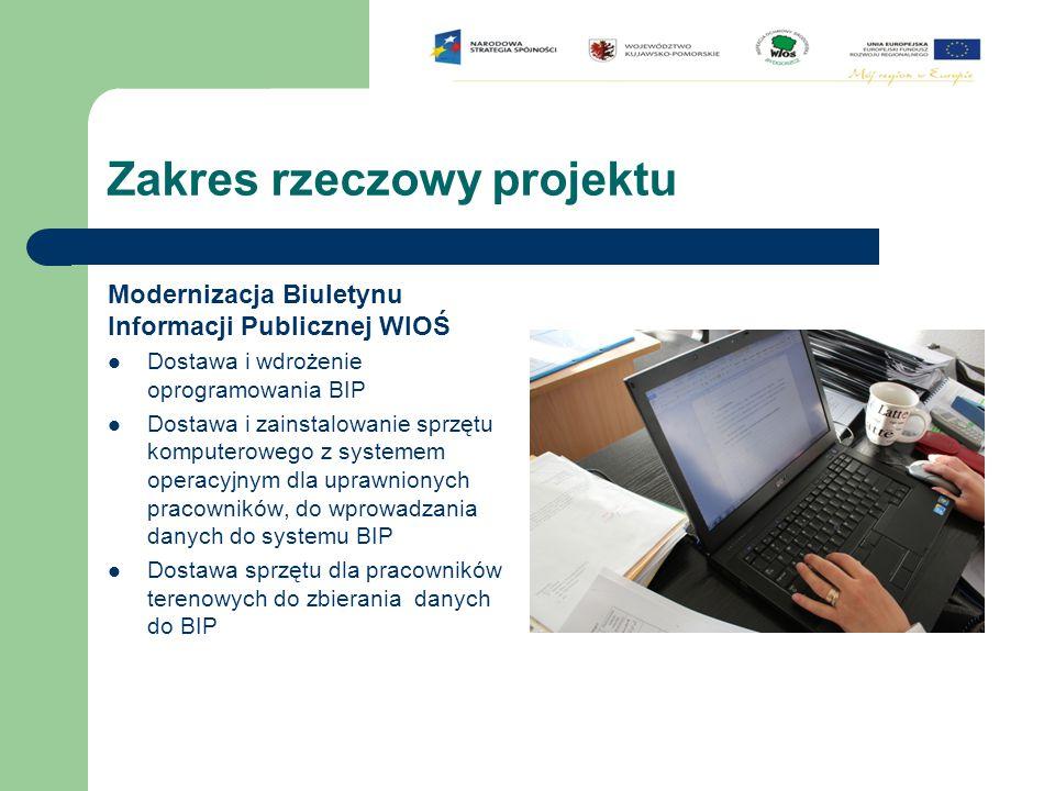 Zakres rzeczowy projektu Modernizacja systemu on-line i Geoprzestrzennej Bazy Zanieczyszczeń Środowiska  Dostawa i zainstalowanie sprzętu komputerowego z oprogramowaniem i urządzeń peryferyjnych do obsługi bieżącej systemu monitoringu powietrza do opracowywania i prezentacji danych zebranych ze stacji  Przebudowa i unowocześnienie strony internetowej WIOŚ  Dostawa i wdrożenie oprogramowania do wizualizacji przestrzennej zanieczyszczeń środowiska typu GIS