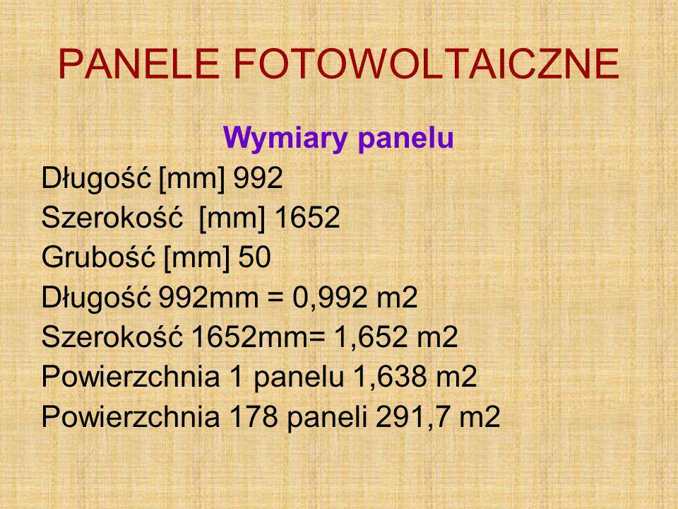 PANELE FOTOWOLTAICZNE Wymiary panelu Długość [mm] 992 Szerokość [mm] 1652 Grubość [mm] 50 Długość 992mm = 0,992 m2 Szerokość 1652mm= 1,652 m2 Powierzchnia 1 panelu 1,638 m2 Powierzchnia 178 paneli 291,7 m2