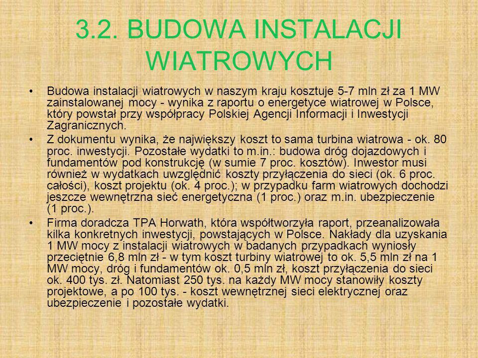 3.2. BUDOWA INSTALACJI WIATROWYCH Budowa instalacji wiatrowych w naszym kraju kosztuje 5-7 mln zł za 1 MW zainstalowanej mocy - wynika z raportu o ene