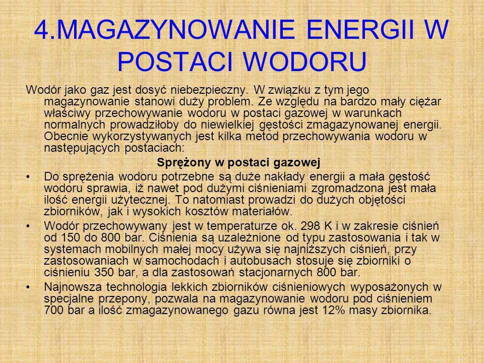 4.MAGAZYNOWANIE ENERGII W POSTACI WODORU Wodór jako gaz jest dosyć niebezpieczny.
