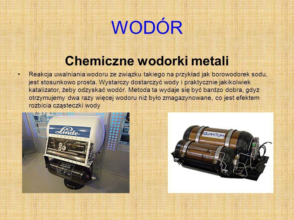 WODÓR Chemiczne wodorki metali Reakcja uwalniania wodoru ze związku takiego na przykład jak borowodorek sodu, jest stosunkowo prosta.