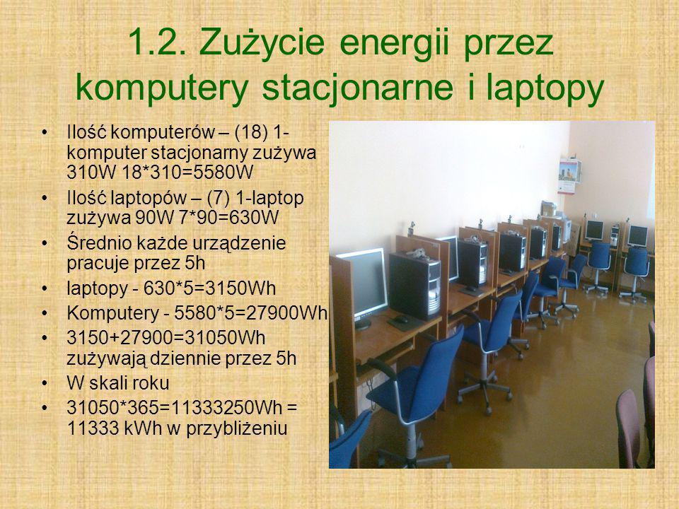 1.2. Zużycie energii przez komputery stacjonarne i laptopy Ilość komputerów – (18) 1- komputer stacjonarny zużywa 310W 18*310=5580W Ilość laptopów – (