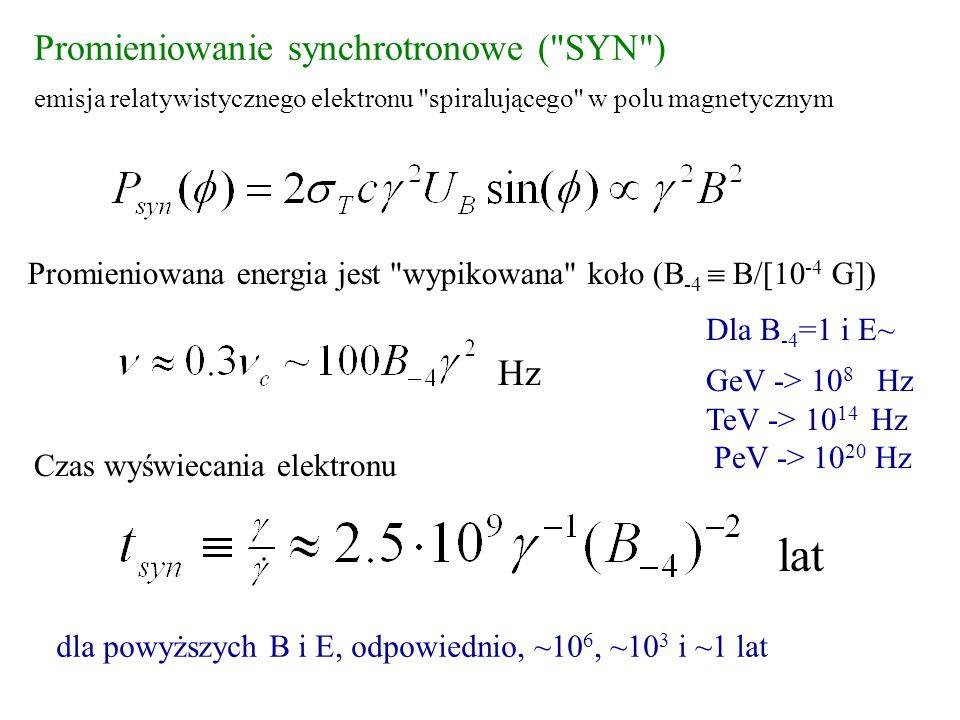 Promieniowanie synchrotronowe ( SYN ) emisja relatywistycznego elektronu spiralującego w polu magnetycznym Czas wyświecania elektronu Promieniowana energia jest wypikowana koło (B -4  B/[10 -4 G]) Hz Dla B -4 =1 i E~ GeV -> 10 8 Hz TeV -> 10 14 Hz PeV -> 10 20 Hz lat dla powyższych B i E, odpowiednio, ~10 6, ~10 3 i ~1 lat
