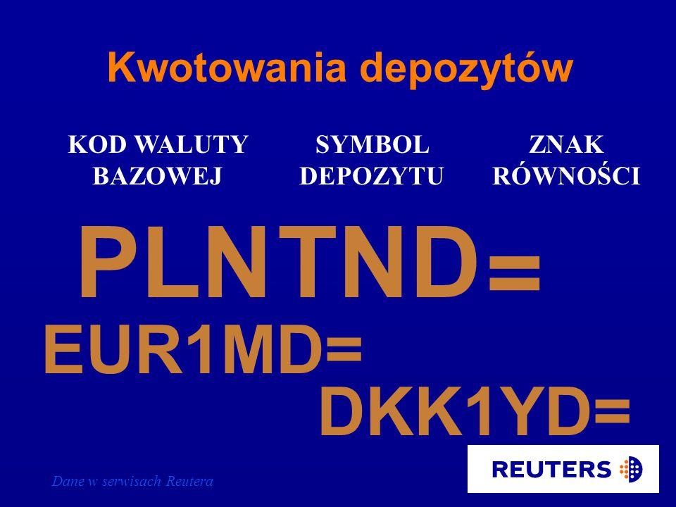 Dane w serwisach Reutera PLN KOD WALUTY BAZOWEJ KOD WALUTY KWOTOWANEJ = ZNAK RÓWNOŚCI EUR EURGBP= CHFPLN= Kwotowania krzyżowe walut