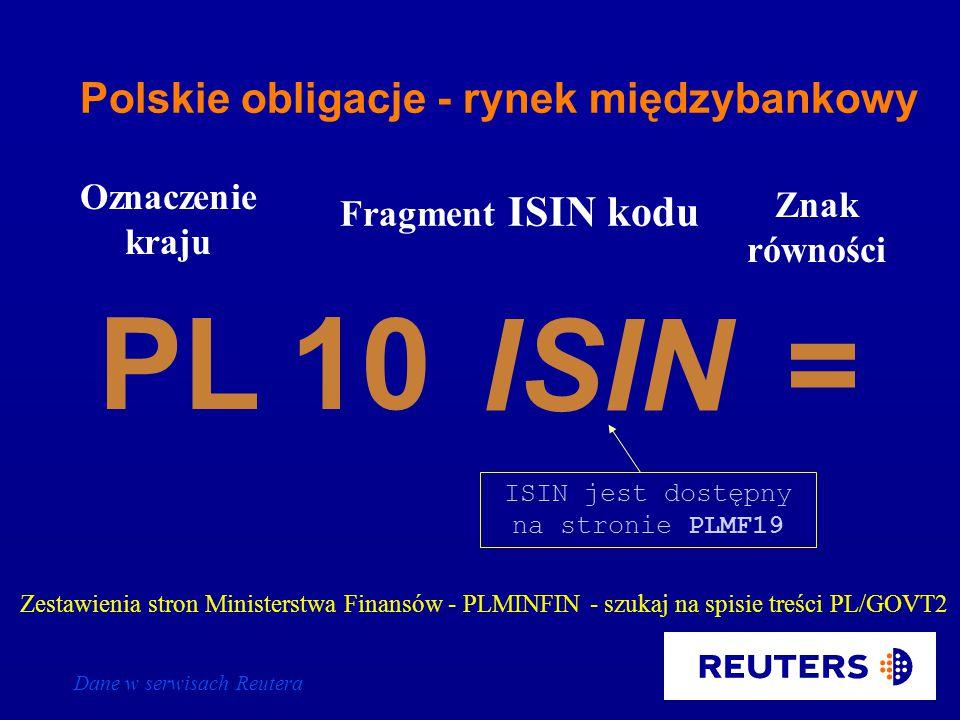 Dane w serwisach Reutera 031203 Oznaczenie kraju Data zapadalności (ddmmrr) T Znak równości PL PL280104T= Litera T = RICi polskich bonów skarbowych