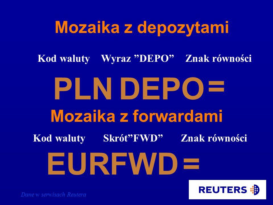 Dane w serwisach Reutera F Kod walutyLitera F =PLN EURF= Znak równości JPYF= Mozaika z depozytami i forwardami