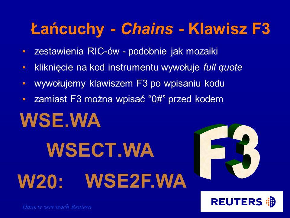 Dane w serwisach Reutera X Kod walutyLitera X =PLN EURX= Znak równości JPYX= Mozaika z kursami krzyżowymi kalkulowanymi