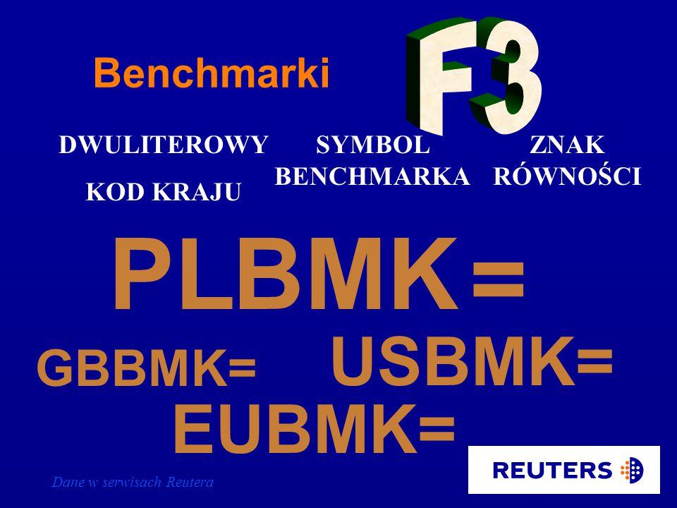 Dane w serwisach Reutera Polskie obligacje - rynek międzybankowy PL10ISIN = dostępny na stronie PLMF19 0# łańcuch - kwotowania kontrybutorów full quote - kwotowanie rynkowe