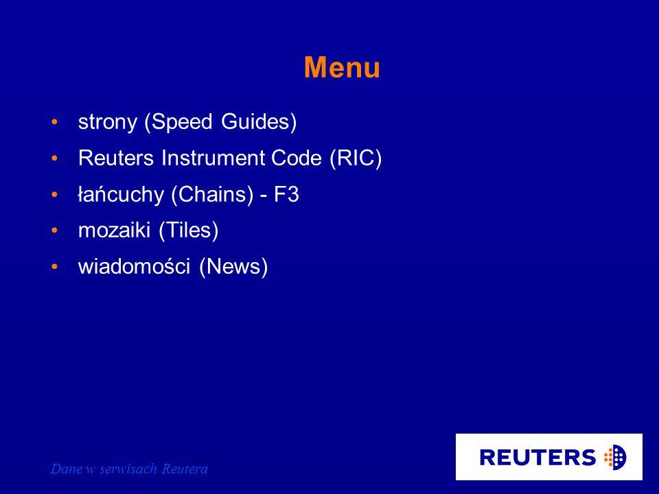 Dane w serwisach Reutera IDN - Integrated Data Network dane w czasie rzeczywistym i dane historyczne dostęp poprzez system kodów dane z trzech źródeł: – Reuters / kontrybutorzy – giełdy – third party wiadomości bieżące z co najmniej ostatnich 6 miesięcy wiadomości historyczne z 550 źródeł i z ostatnich 2 lat transmisja dwutorowa: – satelita – linia naziemna (backlink)