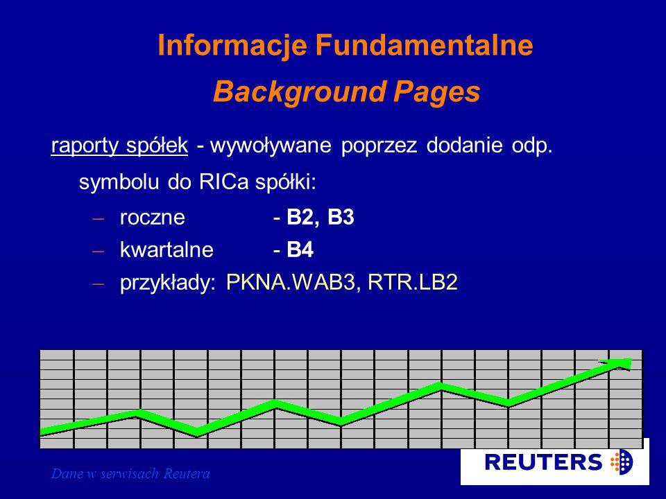 Dane w serwisach Reutera Time & Sales - klawisz F8 wszystkie kwotowania danego instrumentu (spółki giełdowej) za ostatnie 14 dni kalendarzowych wywoływane poprzez wpisanie RICa spółki i naciśnięcie klawisza F8 lub wpisanie RICa spółki poprzedzonego literą t
