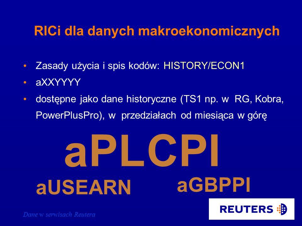 Dane w serwisach Reutera Makroekonomiczne wskaźniki i prognozy Globalny kod wiadomości makroekonomicznych - [ECI] Wiadomości o danym kraju - [XX-ECI], gdzie XX to kod kraju (dwie pierwsze litery kodu waluty) Prognozy makroekonomiczne dla Polski - PL/FORECAST Dane makroekonomiczne - PL/ECON01 i kolejne strony Kalendarium wydarzeń makroekonomicznych – EMRGDIARY01 i kolejne strony