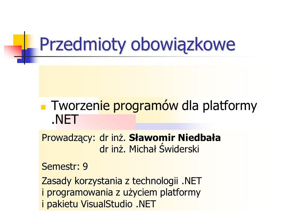 Przedmioty obowiązkowe Programowanie w środowisku Windows Programowanie współbieżne II Programowanie współbieżne II Tworzenie programów w technologii.