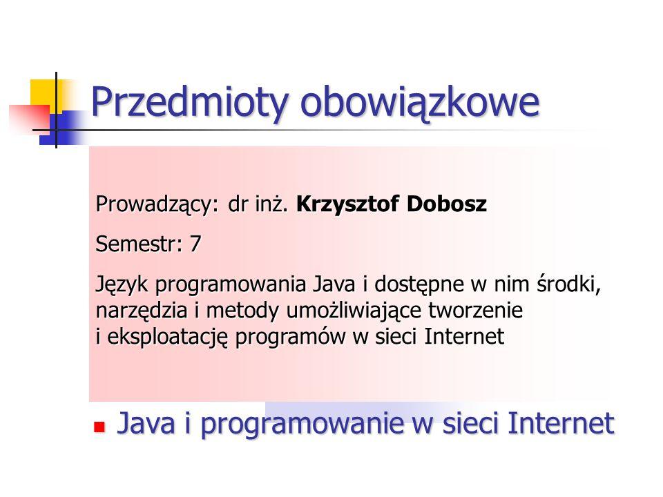 Przedmioty obowiązkowe Programowanie w środowisku Windows Programowanie współbieżne Tworzenie programów w technologii.NET Elementy translatorów Progra