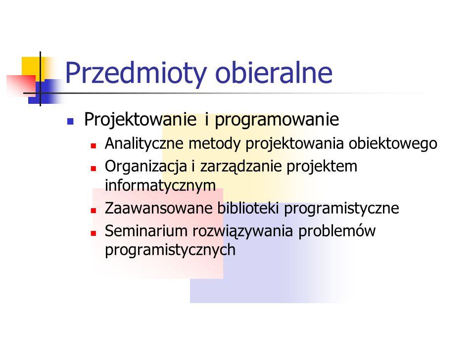 Przedmioty obieralne Środowiska i systemy Zaawansowane aplikacje internetowe Java w urządzeniach mobilnych Programowanie urządzeń mobilnych Programowa