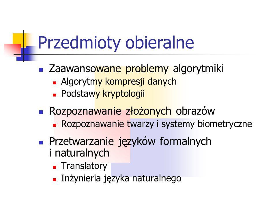 Przedmioty obieralne Projektowanie i programowanie Analityczne metody projektowania obiektowego Organizacja i zarządzanie projektem informatycznym Zaa