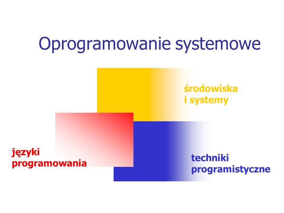 środowiska i systemy języki programowania techniki programistyczne Oprogramowanie systemowe