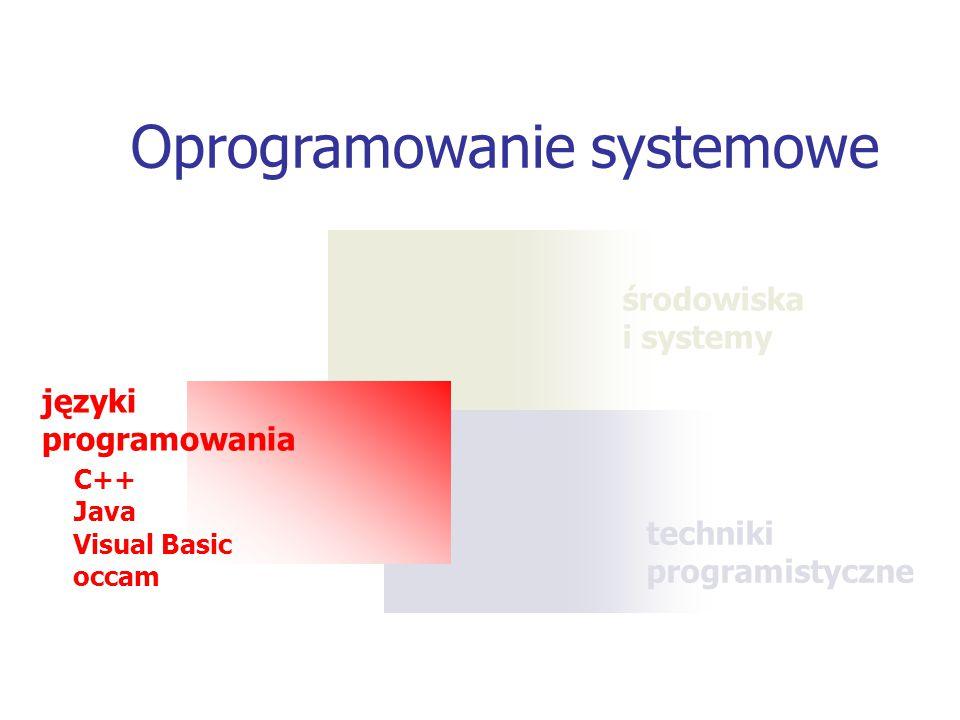 techniki programistyczne środowiska i systemy Oprogramowanie systemowe języki programowania C++ Java Visual Basic occam