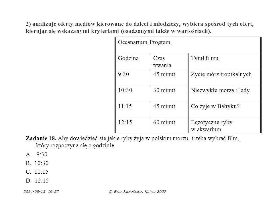 2014-08-15 16:59© Ewa Jabłońska, Kalisz 2007 2) analizuje oferty mediów kierowane do dzieci i młodzieży, wybiera spośród tych ofert, kierując się wska