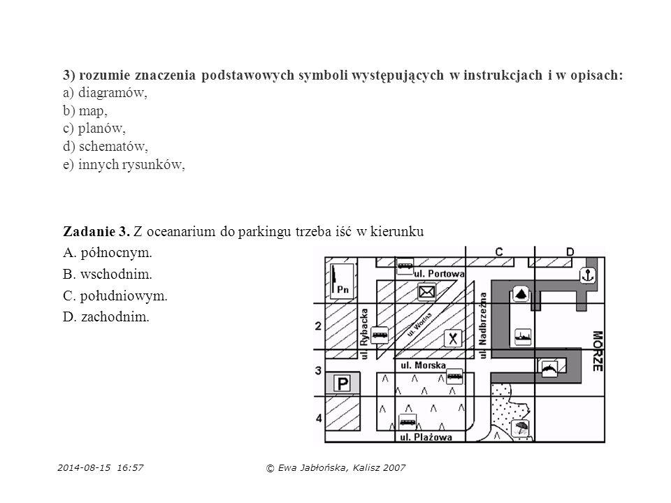 2014-08-15 16:59© Ewa Jabłońska, Kalisz 2007 3) rozumie znaczenia podstawowych symboli występujących w instrukcjach i w opisach: a) diagramów, b) map,