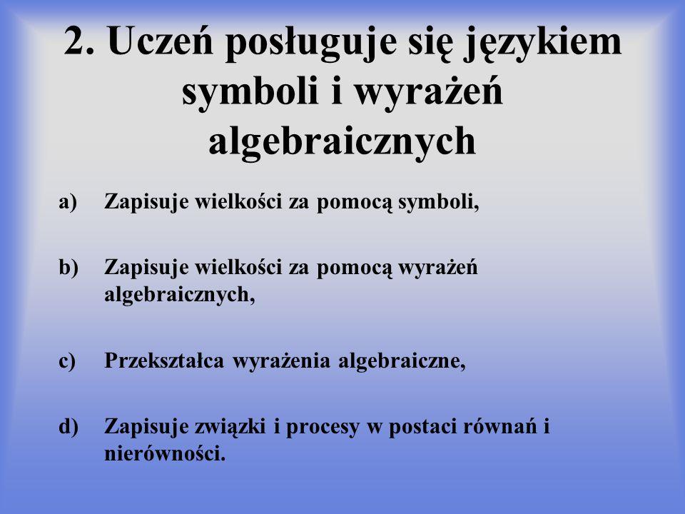 2. Uczeń posługuje się językiem symboli i wyrażeń algebraicznych a)Zapisuje wielkości za pomocą symboli, b)Zapisuje wielkości za pomocą wyrażeń algebr