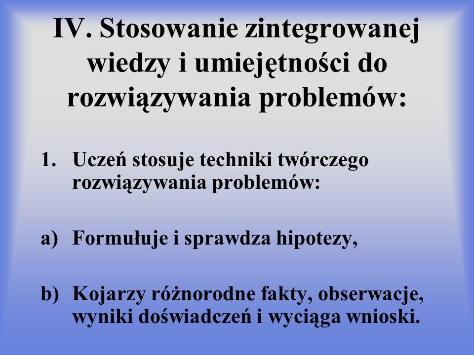 IV. Stosowanie zintegrowanej wiedzy i umiejętności do rozwiązywania problemów: 1.Uczeń stosuje techniki twórczego rozwiązywania problemów: a)Formułuje