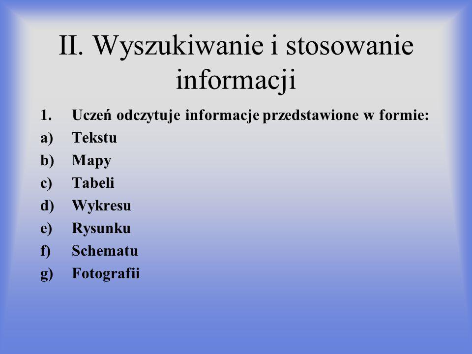 II. Wyszukiwanie i stosowanie informacji 1.Uczeń odczytuje informacje przedstawione w formie: a)Tekstu b)Mapy c)Tabeli d)Wykresu e)Rysunku f)Schematu