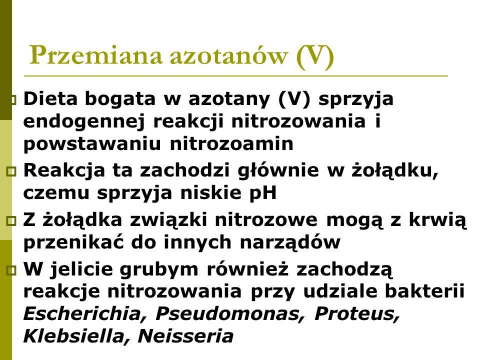 Przemiana azotanów (V)  Dieta bogata w azotany (V) sprzyja endogennej reakcji nitrozowania i powstawaniu nitrozoamin  Reakcja ta zachodzi głównie w żołądku, czemu sprzyja niskie pH  Z żołądka związki nitrozowe mogą z krwią przenikać do innych narządów  W jelicie grubym również zachodzą reakcje nitrozowania przy udziale bakterii Escherichia, Pseudomonas, Proteus, Klebsiella, Neisseria