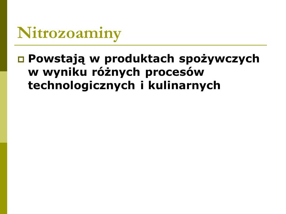 Nitrozoaminy  Powstają w produktach spożywczych w wyniku różnych procesów technologicznych i kulinarnych