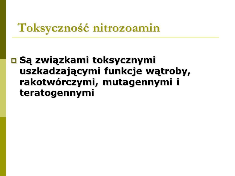 Toksyczność nitrozoamin Toksyczność nitrozoamin  Są związkami toksycznymi uszkadzającymi funkcje wątroby, rakotwórczymi, mutagennymi i teratogennymi