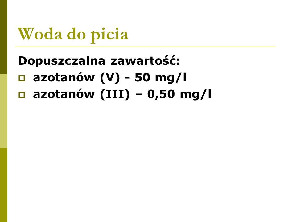 Woda do picia Dopuszczalna zawartość:  azotanów (V) - 50 mg/l  azotanów (III) – 0,50 mg/l