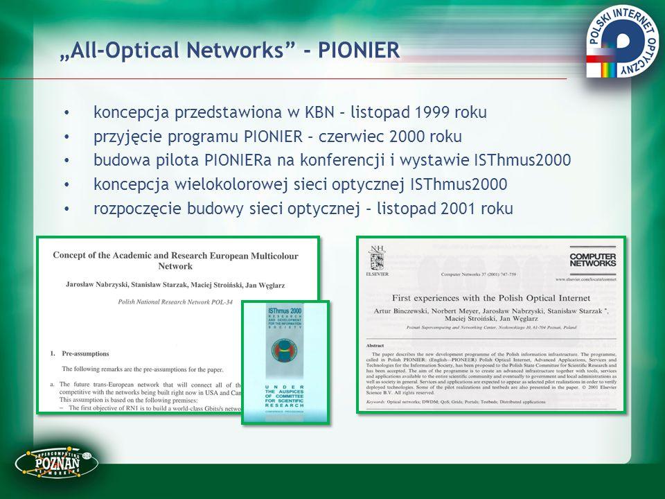 """""""All-Optical Networks"""" - PIONIER koncepcja przedstawiona w KBN – listopad 1999 roku przyjęcie programu PIONIER – czerwiec 2000 roku budowa pilota PION"""