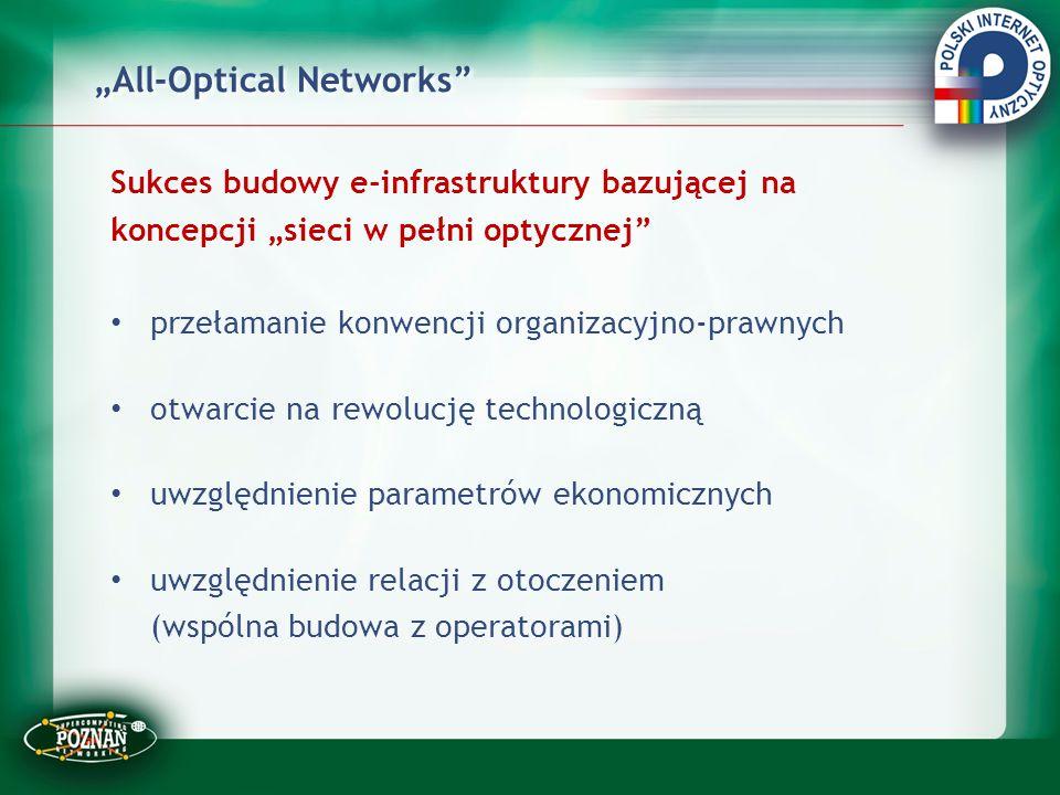 """""""All-Optical Networks"""" Sukces budowy e-infrastruktury bazującej na koncepcji """"sieci w pełni optycznej"""" przełamanie konwencji organizacyjno-prawnych ot"""