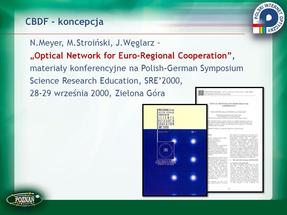 """CBDF - koncepcja N.Meyer, M.Stroiński, J.Węglarz – """"Optical Network for Euro-Regional Cooperation"""", materiały konferencyjne na Polish-German Symposium"""