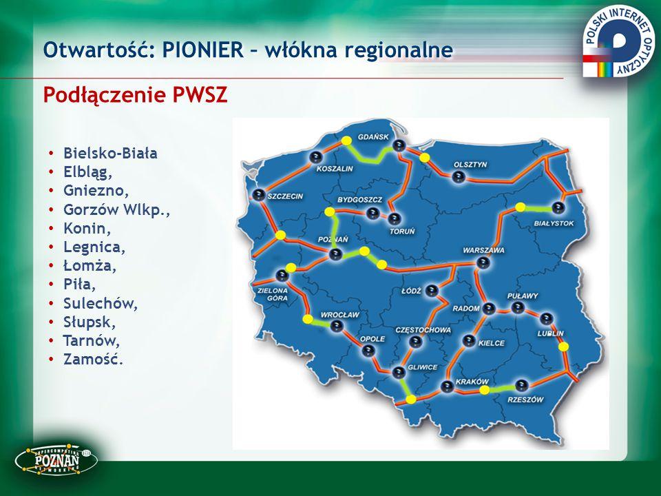 Otwartość: PIONIER – włókna regionalne Podłączenie PWSZ Bielsko-Biała Elbląg, Gniezno, Gorzów Wlkp., Konin, Legnica, Łomża, Piła, Sulechów, Słupsk, Ta