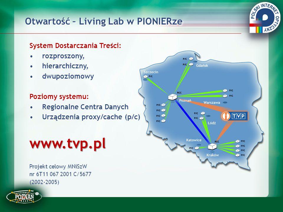 Otwartość – Living Lab w PIONIERze System Dostarczania Treści: rozproszony, hierarchiczny, dwupoziomowy Poziomy systemu: Regionalne Centra Danych Urzą