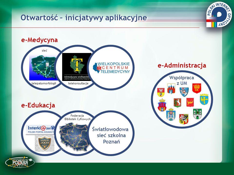 Otwartość – inicjatywy aplikacyjne e-Medycyna e-Edukacja e-Administracja Sieć Współpraca z UM sieć telepatomorfologiitelekonsultacje Światłowodowa sie