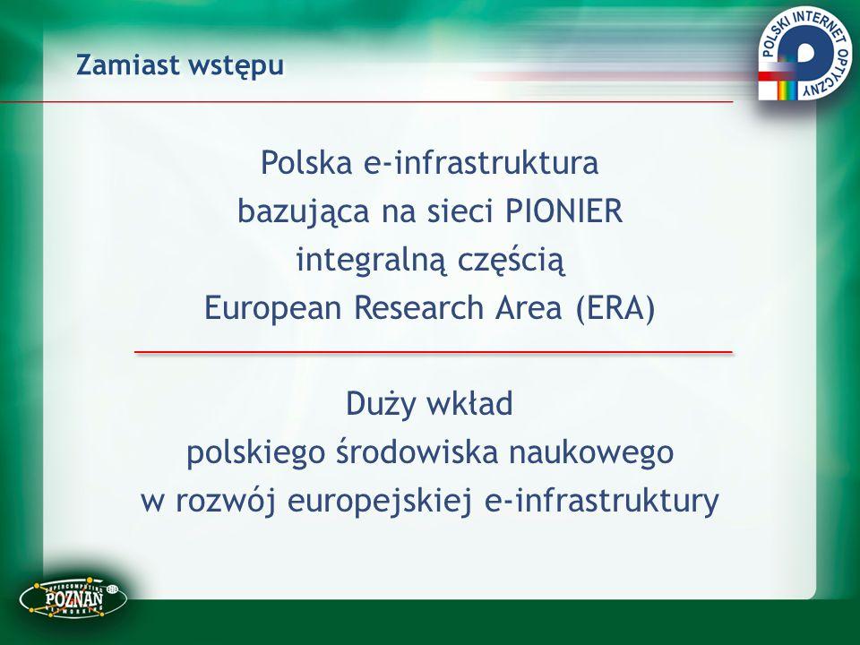 Zamiast wstępu Polska e-infrastruktura bazująca na sieci PIONIER integralną częścią European Research Area (ERA) Duży wkład polskiego środowiska nauko