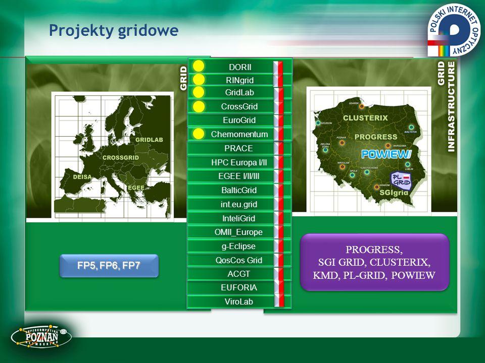 PROGRESS, SGI GRID, CLUSTERIX, KMD, PL-GRID, POWIEW PROGRESS, SGI GRID, CLUSTERIX, KMD, PL-GRID, POWIEW HPC Europa I/II EGEE I/II/III BalticGrid int.e