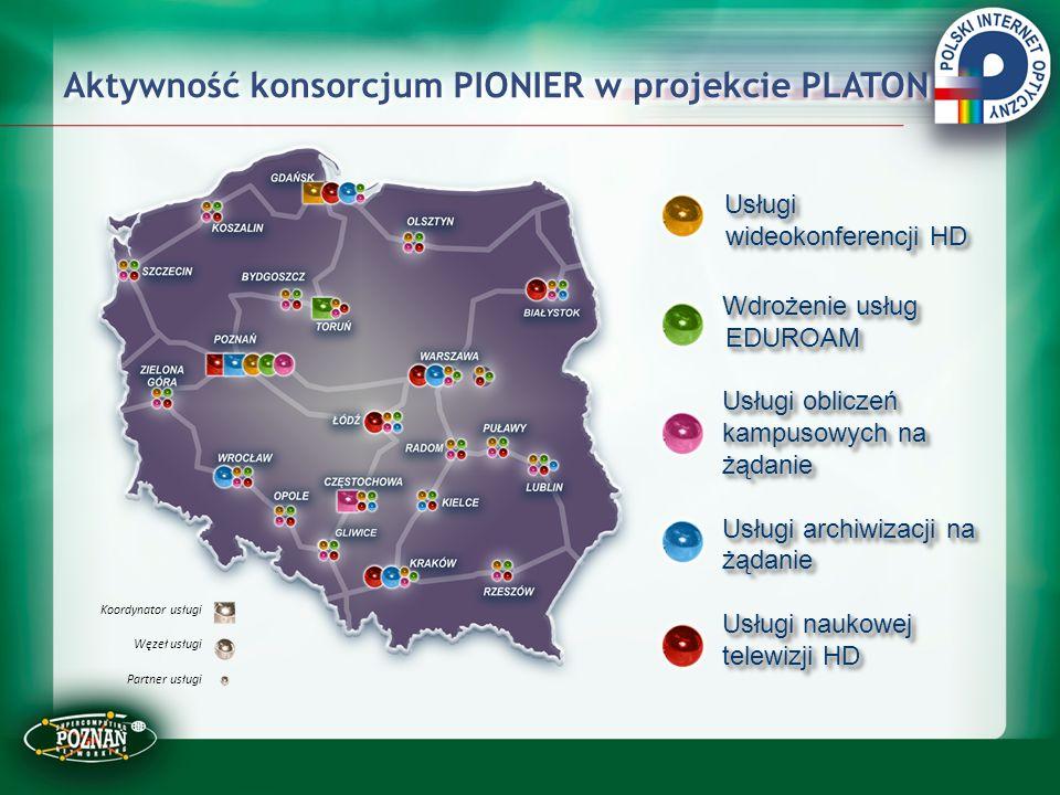 Aktywność konsorcjum PIONIER w projekcie PLATON Usługi wideokonferencji HD Usługi wideokonferencji HD Wdrożenie usług EDUROAM Wdrożenie usług EDUROAM