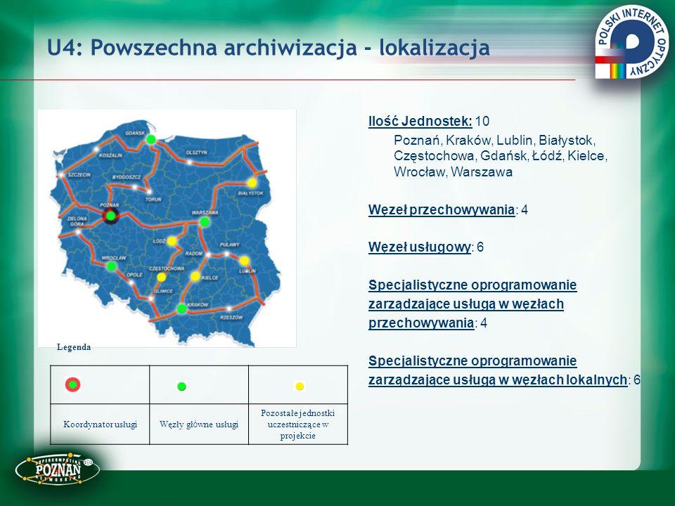 U4: Powszechna archiwizacja - lokalizacja Ilość Jednostek: 10 Poznań, Kraków, Lublin, Białystok, Częstochowa, Gdańsk, Łódź, Kielce, Wrocław, Warszawa